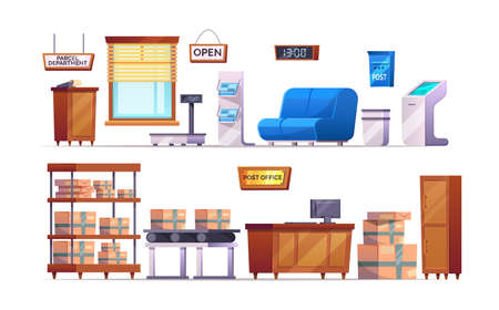 Post office interior with furniture, warehouse. Delivery service elements stuff, furniture, postbox, correspondence, terminal, parcels on shelves, conveyor, reception, trash bin, belt scales vector