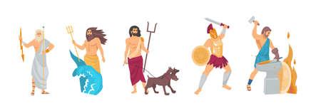 Ancient greek god. Greek God Hades, Hephaestus, Poseidon, Zeus, Ares. Patrons of the underworld, fire and crafts, sky, thunder and lightning, seas and oceans, war cartoon vector illustration