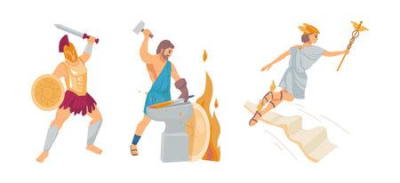 Pantheon of ancient Greek gods. Ancient Greece Gods Hephaestus, Zeus, Ares. Patrons of fire and crafts, war, sky, thunder and lightning, cartoon vector illustration