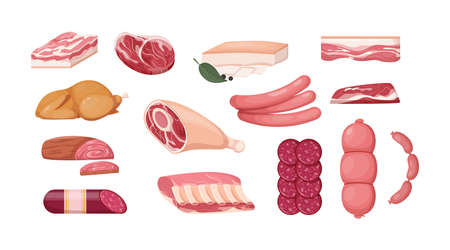 Meat fresh steaks meat delicatessen cartoon set. Sausages, smoked cervelat, meat steak for barbeque, salami, home-made bacon, meatloaf, bacon fillet, fried chicken, pork belly, beef shank vector Vecteurs
