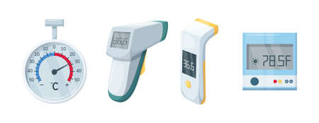 Medical domestic meteorology thermometer. Mercury and electronic thermometer for temperature measurement. Temperature scale for measurement. Healthcare and medical equipment, device flat vector.