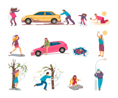 Natural disasters, severe weather conditions snowfall, strong wind. People flee from stormy winds, take shelter from hurricanes, from falling hail, freeze from cold, die in desert from heat vector Vector Illustratie