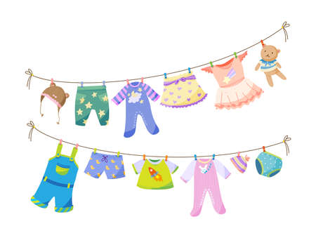 Baby fabric apparel. Baby girls and boys clothes hanging on clothesline. Drying children clothes and accessories after washing on rope. Shorts, socks, sweater, hat, toys, T-shirt, sarafans flat vector