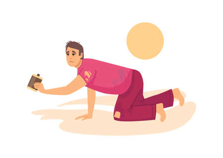 Natural disasters, severe weather unfavorable environmental conditions. Man in desert crawling on his knees on sands in desert without water cartoon vector illustration