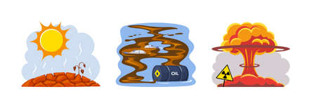 Natural disasters drought, dirty waste, nuclear pollution. Heat causes drought, soil cracking and plant death. Nuclear explosion causes toxic pollution of nature. Oil spill kills fish cartoon vector Vektorgrafik