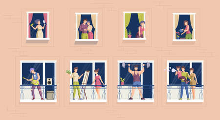 People spending time on balcony or looking at window. Neighbor person at residential apartment. People doing sports, drawing, playing guitar, talking, hugging. Stay home quarantine cartoon vector