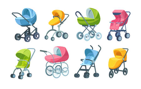 Set of childish colorful folding stroller, buggy, baby carriage, child wagon, infant transport with wheels and handles. Newborn or toddler go-cart for comfortable walking transportation cartoon vector