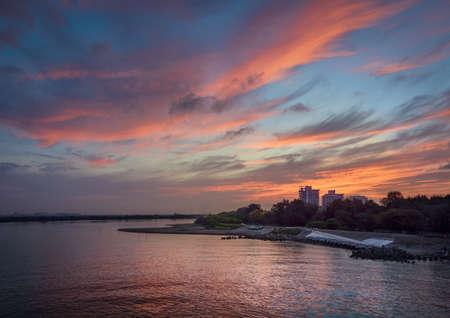 landscape riverside: dawn Stock Photo