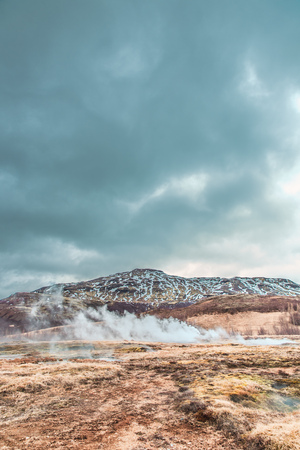 A geyser in Iceland Stock Photo