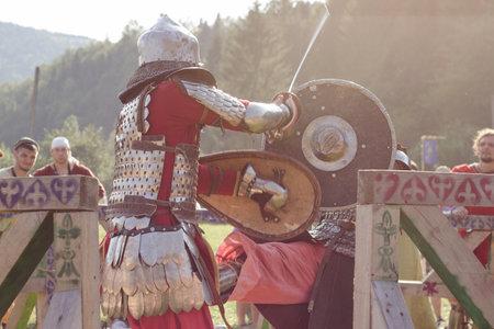plastron: Urych, Ukraine - August 2: Tustan Medieval Culture Festival in Urych, Western Ukraine, on August 2, 2014
