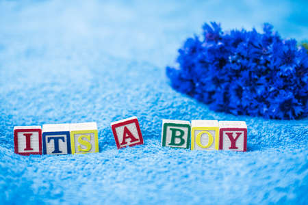 letter blocks: Its a boy Pregnancy Announcement made of toy letter blocks on blue bath towel background with cornflowers