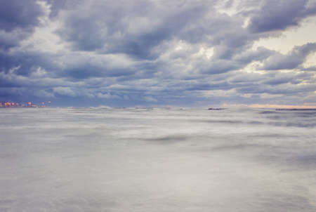 choppy: Beautiful landscape with dramatic sky above the choppy sea in the evening