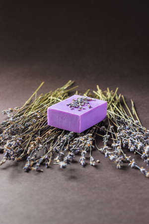 soap; natural; bar; lavender; white; purple; violet; soapdish; dark; background; soapbox; brown; additive; aromatherapy; bath; colorful; cosmetic; handmade; hygiene; organic; products; ceramic; scented; spa; therapy; toiletry; tray; wash; body care; herba