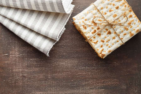 A stack of Jewish Matzah bread. Passover holiday concept Stock Photo