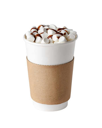 Cacao drink with marshmallows and chocolate topping in paper cup to go isolated on white background