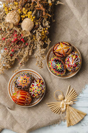 Ukrainian Easter eggs decorated with wax-resist dyeing technique, traditional for Eastern European countries
