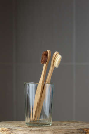 Two eco friendly bamboo brushes in a glass. Zero Waste concept Banco de Imagens