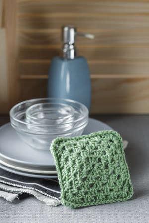 Reusable crochet hand made sponge for dish washing. ZeroWaste concept