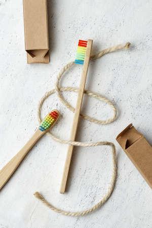 Pride Bamboo Rainbow Bristle Dental Toothbrush - Sustainable plastic free lifestyle concept