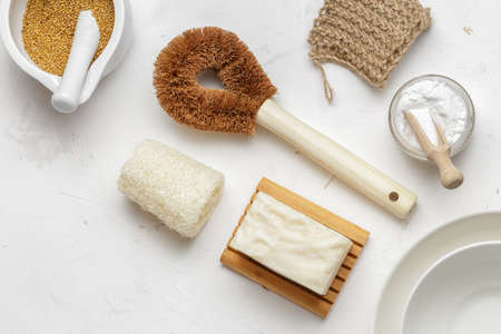 Set of Zero Waste products for Sustainable Dish Washing, Luffa Sponge, Vegan Dishwashing Solid Soap, Coconut Bristle Brush, Biodegradable Scrubber, Soda and Mustard are natural ingredients for non toxic Homemade Detergent