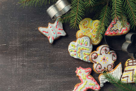 Cup of black coffee with christmas tree and gingerbread cookies, top view Stok Fotoğraf