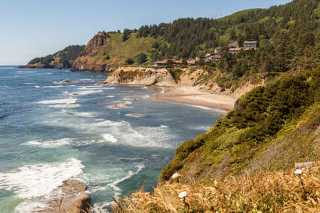 Oregon Coast landscape overlook in the Pacific Northwest, USA 版權商用圖片