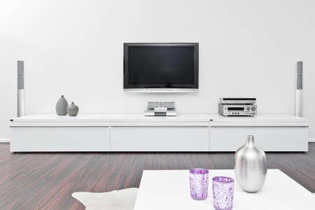 modern livingroom in white with tv