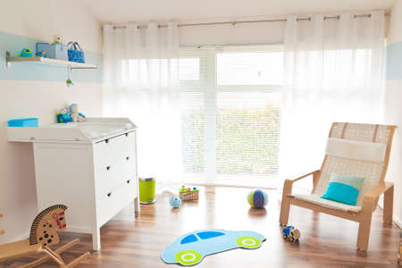 sleeping room: babys room with toys Stock Photo