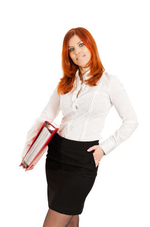 Business woman with red ring file Stock Photo - 9238412