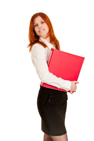 Business woman with red ring file photo