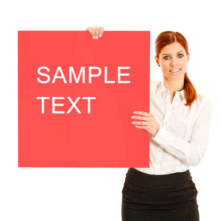 Business woman with presenting a signboard Stock Photo - 9238408