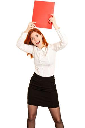 Aufgeregt Business Woman with red Ordner Lizenzfreie Bilder
