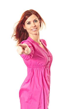 Junge Frau einen Finger auf Sie zeigen Lizenzfreie Bilder