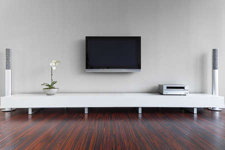 living room minimalist: Modern living-room with TV and hifi equipment