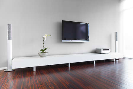 orchid house: Modern living-room with TV and hifi equipment