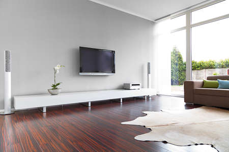 living room window: Modern living-room with TV and hifi equipment