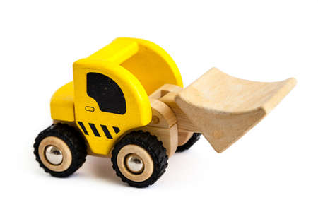 toy truck: Wooden truck isolated on white