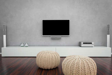 Modern Living Room Interior with Home-Entertainment Standard-Bild