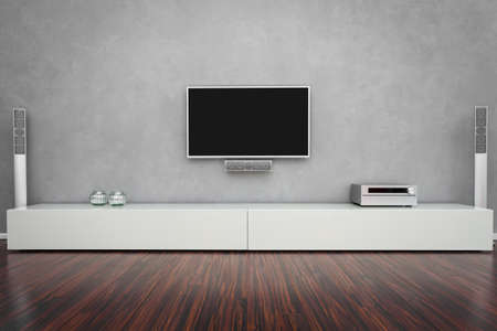 Modern Living Room Interior with Home-Entertainment Stock Photo