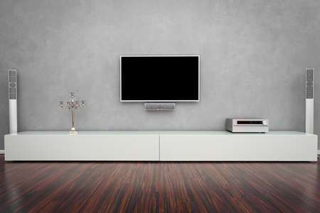 tv set: Modern Living Room Interior with Home-Entertainment Stock Photo