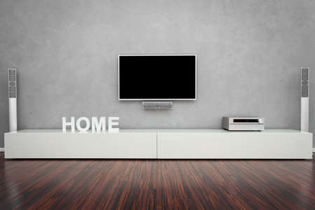 Modern Living Room Interior with Home-Entertainment Stock Photo - 18856792