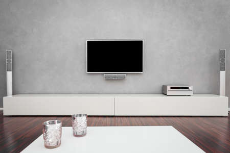 Modern Living Room Interior Mit Home Entertainment Lizenzfreie Fotos