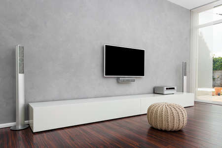 living apartment: Modern Living Room Interior with Home-Entertainment Stock Photo