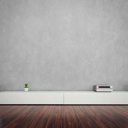 aparador: Modern Living Room Interior com parede conrete