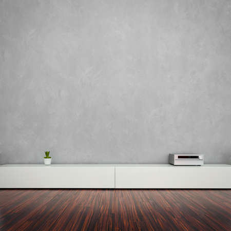 sala de estar: Modern Living Room Interior con pared conrete Foto de archivo