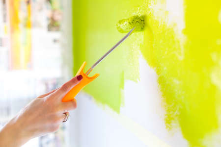 Painting with green paint