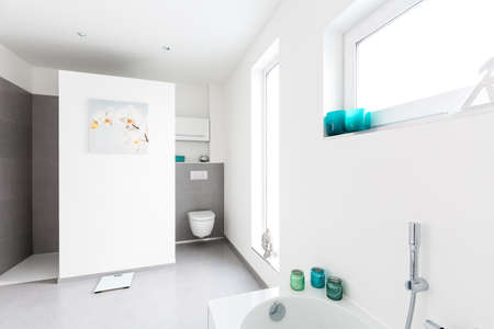 bathroom interior: Modern white Bathroom interior