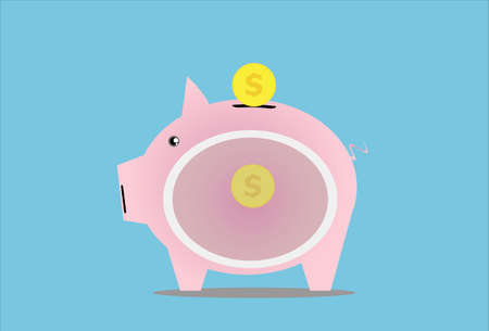 penetrate: piggy bank. savings pig penetrate inside.vector illustration
