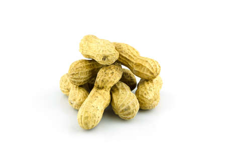 monkey nuts: peanut on isolate background, food and vegetarian Stock Photo