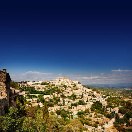 gordes: Panoramic view of ancient Gordes village in French Provence
